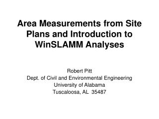 Area Measurements from Site Plans and Introduction to WinSLAMM Analyses