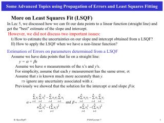 More on Least Squares Fit (LSQF)