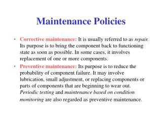 Maintenance Policies