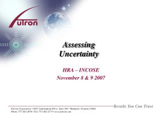 Assessing Uncertainty