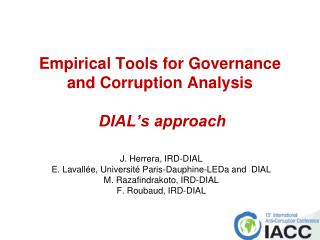 Empirical Tools for Governance and Corruption Analysis DIAL's approach