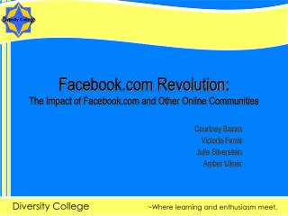 Facebook Revolution: The Impact of Facebook and Other Online Communities