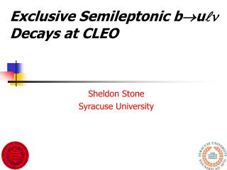 Exclusive Semileptonic b u   Decays at CLEO