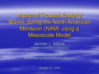 Impact of Tropical Easterly Waves during the North American Monsoon (NAM) using a Mesoscale Model