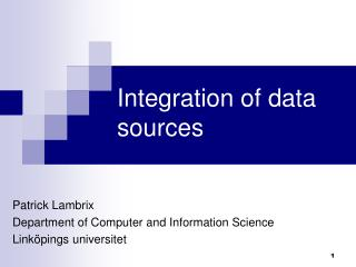 Integration of data sources