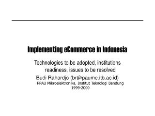 Implementing eCommerce in Indonesia