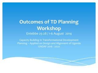 Outcomes of TD Planning Workshop Entebbe 25-28 / 1-6 August  2014