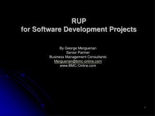 RUP for Software Development Projects