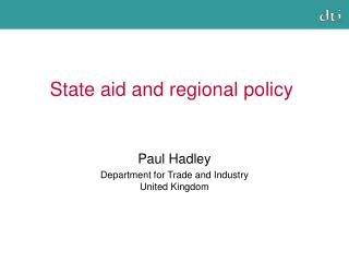 State aid and regional policy