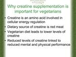 Why creatine supplementation is important for vegetarians