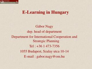 E-Learning in Hungary
