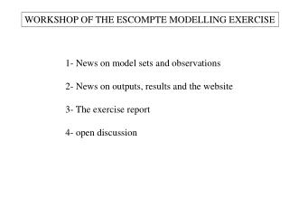 WORKSHOP OF THE ESCOMPTE MODELLING EXERCISE