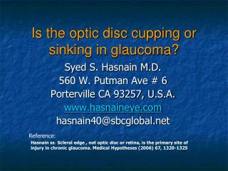 Is the optic disc cupping or sinking in glaucoma?