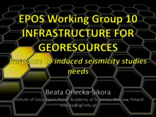 EPOS Working Group 10 INFRASTRUCTURE FOR  GEORESOURCES