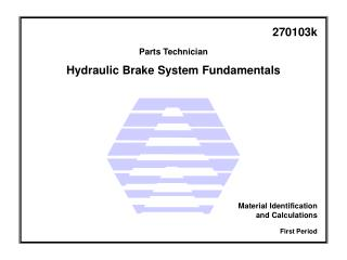 Hydraulic Brake System  Fundamentals