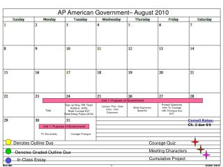 AP American Government– August 2010