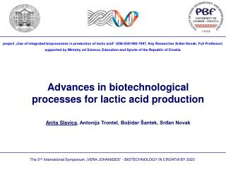 Advances in biotechnological processes for lactic acid production