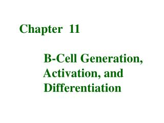 Chapter  11         B-Cell Generation,         Activation, and         Differentiation