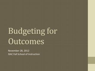 Budgeting for Outcomes