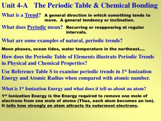 Unit 4-A	The Periodic Table & Chemical Bonding