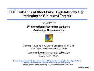 PIC Simulations of Short-Pulse, High-Intensity Light Impinging on Structured Targets