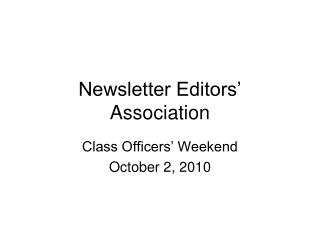Newsletter Editors' Association