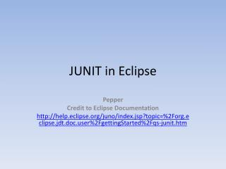 JUNIT in Eclipse