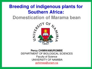 Breeding of indigenous plants for Southern Africa: Domestication of Marama bean