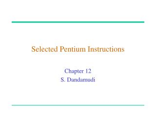 Selected Pentium Instructions