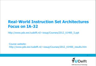 Real-World Instruction Set Architectures Focus on IA-32