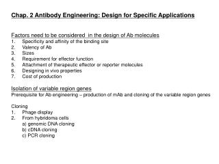 Chap. 2 Antibody Engineering: Design for Specific Applications