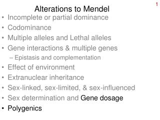 Alterations to Mendel