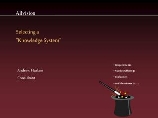 "Selecting a  ""Knowledge System"""