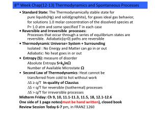 8 th  Week Chap(12-13) Thermodynamics and Spontaneous Processes