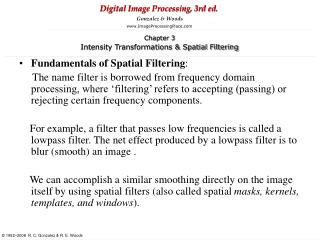 Fundamentals of Spatial Filtering :