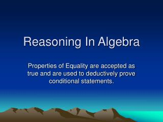 Reasoning In Algebra