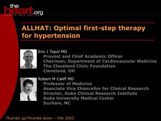 ALLHAT: Optimal first-step therapy for hypertension