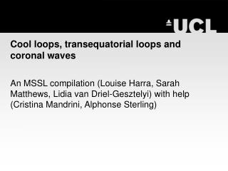 Cool loops, transequatorial loops and coronal waves