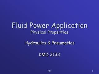 Fluid Power Application Physical Properties