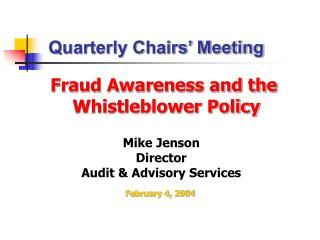 Fraud Awareness and the Whistleblower Policy
