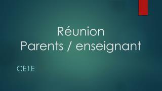 Réunion Parents / enseignant