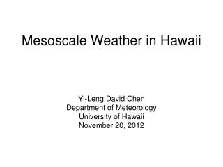Mesoscale Weather in Hawaii