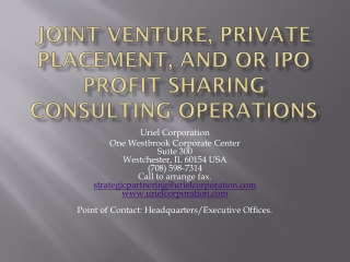 JOINT VENTURE, PRIVATE PLACEMENT, AND OR IPO profit sharing consulting operAtions