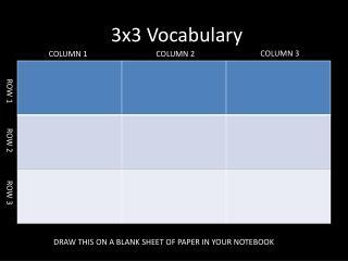 3x3 Vocabulary