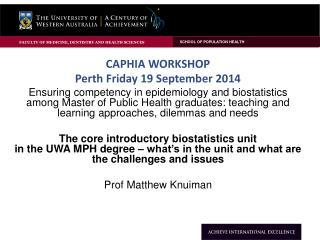 CAPHIA WorkSHOP Perth Friday 19 September 2014