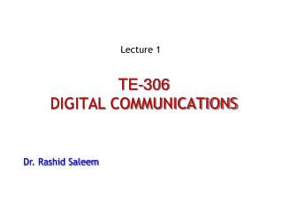 TE-306 DIGITAL COMMUNICATIONS