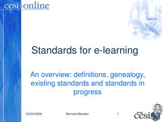 Standards for e-learning