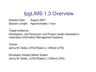 lpgLIMS 1.3 Overview