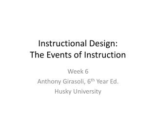 Instructional Design: The Events of Instruction