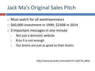 Jack Ma's Original Sales  Pitch